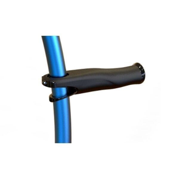 Krykke blå med håndtag.